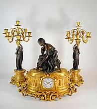 Antique Japy Freres French Marble Clock Garniture, Moreau Bronze