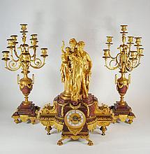 Antique Lemaire Gilt Bronze French Marble Clock Garniture