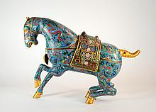 Antique Chinese Cloisonne Large 22 Inch Tang Style Horse