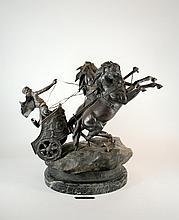 Char de la Victoire Domenech and Pfeffer French Spelter 26 In. Sculpture