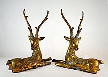 Pair of  Large 19.5 Inch Vintage Brass Plated Thai Fallow Deer