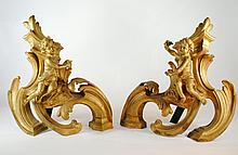 Antique Gilt Metal Rococo Style Andirons with Cherubs