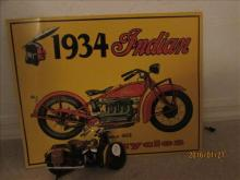2 Pc - 1934 Indian Motorcycle Metal Sign and Motorcycle