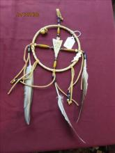 Dream Catcher Buffalo Bone Carved With Feathers and Beads