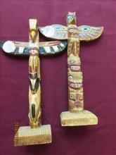 2 pc - Stone American Indian Totem Poles 10