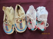 2 Pair American Indian Beaded Baby Shoes