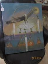 Painting of Indian Village with Dream Catcher and Eagle