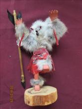 American Indian Kachina Doll with Fur and Long Spear