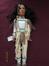 American Indian Doll with Raw Hide Leather Dress