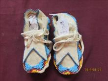 Pair of American Indian Fully Beaded Baby Moccasins
