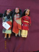 3 Squaw Sister Dolls one with opening eyes