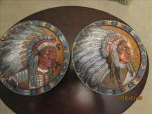 2 Wall Plaque Seating Bull and Red Cloud