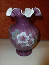 Fenton hand painted signed- purple flower ruffled top vase