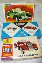 3 Pyro model car kits- Cord, Auburn, and Two Ford Kit