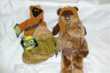 4 Star Wars figures- Kenner- Ewok-Jawa-Jabba-Chewbacca