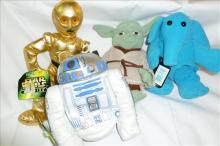 4 Star Wars figures- Kenner- C-3PO-Yoda-Max Rebo and R2-D2