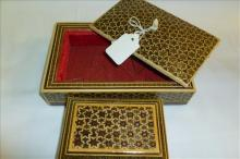 2 Oriental style inlaid look leather & red velvet covered boxes