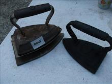 2 OLD SAD IRONS & COOLING BASE-1 STAR MARKED  #5 & #6