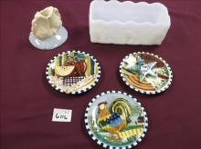 ROUND COUNTRY WALL PLAQUES, BOWL & CANDLEHOLDER