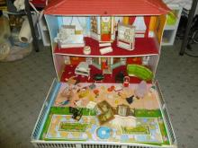 Fold up vinyl doll house-with furniture