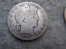1906D Barber Silver Half Dollar