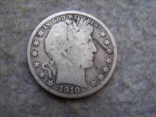 1910S Barber Silver Half Dollar