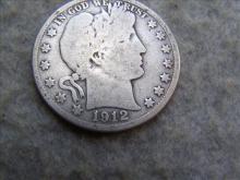 1912D Barber Silver Half Dollar