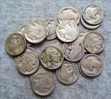 22 Buffalo Nickels - (8 Readable Dates)