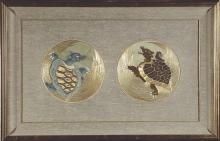 19th Century Japanese Embroidered Roundels of Turtles