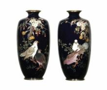 Japanese Meiji Period Pair of  Cloisonne Vases