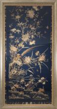 19th Century Chinese Blue Embroidery with Birds and Floral Motif