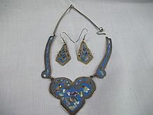 Alpacca Mexico Vintage 2 pcs set necklace & ER