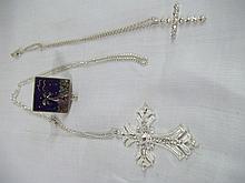 3 Pce. Pill Box & Cross Necklace Set