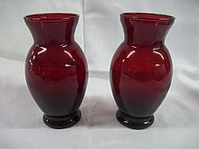 Set of 2 Cranberry Glass Vases