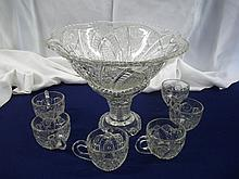 Cut Glass Punch Bowl Set w/Stand & 6 Cups