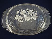 Large Cassarole Dish With Flower etched Lid