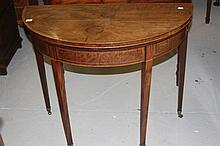 19th cent. Oak demi-loom fold-over games table on