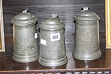 Pewter: 19th cent. Tankards, Exeter College x 2 18