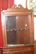 19th cent: Mahogany corner wall mounted cupboard w
