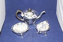 Hallmark silver: Tea set, teapot creamer, sugar bo