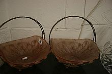 Art deco pink glass baskets with gilt handles & st