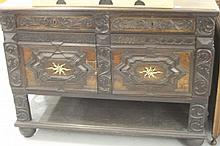 18th cent. Oak heavily carved cupboard, 2 drawers