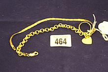 Jewellery: Yellow metal marked 375  chain bracelet