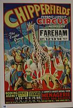 Circus pre-war Chipperfields poster in colour depi