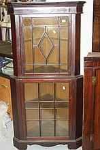 19th cent. Mahogany 2 tier glazed corner cupboard