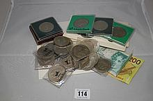 Coins and banknotes: 42 British crowns, 5 shilling