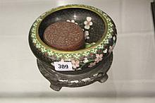 20th cent. Cloisonnè bowl on stand, decorated with