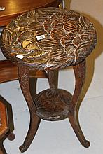 19th cent. Japanese hardwood table with carved ch