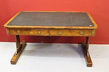 19th cent Burr elm library table with embossed Gr