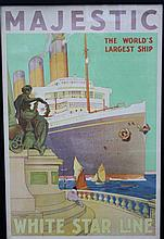 WHITE STAR LINE: Rare coloured lithographic travel